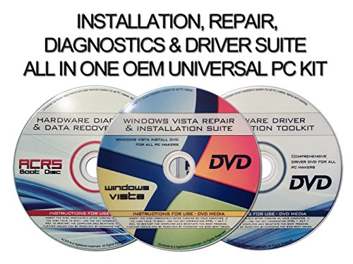 Universal 3 Disc Set For Install, Recovery, & Repair All Windows Vista Versions-Hardware Diagnostics & Drivers by...