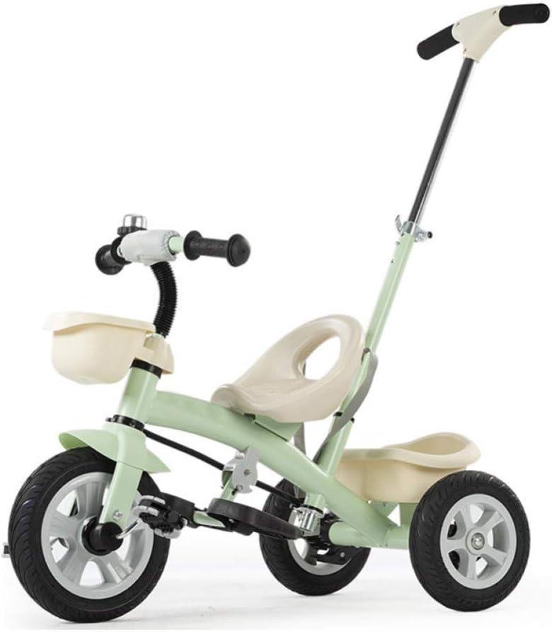 GIFT Bicicleta De 3 Ruedas para Niños con Triciclo Extraíble, Triciclo Extraíble, Asiento Ajustable, Rueda De Titanio No Inflable Que Absorbe Los Golpes, 2-6 Años,Green