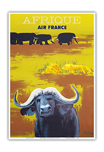 Pacifica Island Art Africa (Afrique) - Air France - African Wildlife - Vintage Airline Travel Poster by Paul Colin c.1956 - Master Art Print - 13in x 19in