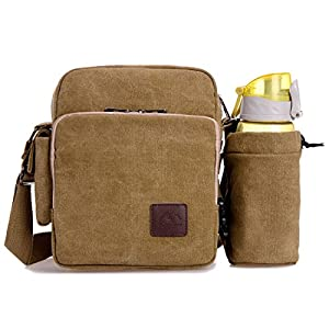 U-TIMES Unisex Small Canvas Single Shoulder Bag Tablet Daypack with Water Bottle Holder(Khaki)