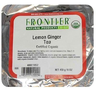 Frontier Herb Organic Tea Lemon Ginger, 16 oz