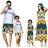 Elufly Summer Family Matching Outfits Floral Mommy Daughter Dresses & Daddy Babies T-Shirt Pants Parent-Child Clothing (Girls A, Size 110)