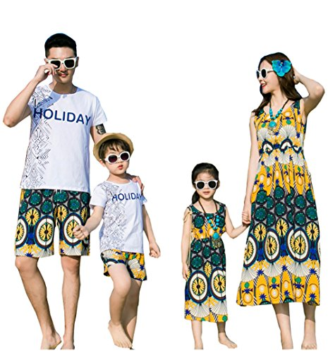 Elufly Summer Family Matching Outfits Floral Mommy Daughter Dresses & Daddy Babies T-Shirt Pants Parent-Child Clothing (Mom A, M) -
