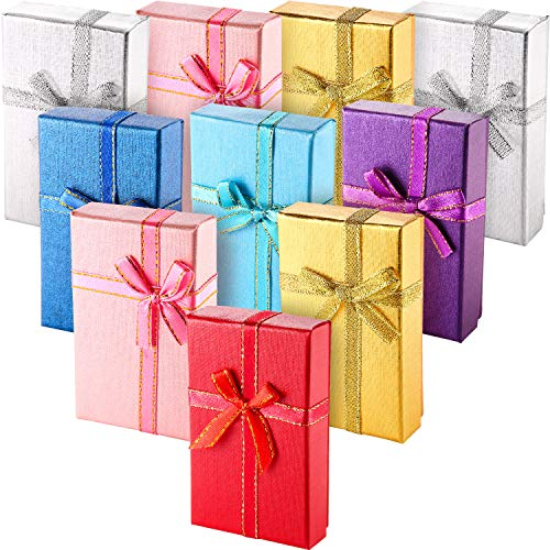 (Pangda 12 Pieces Cardboard Ring Gift Box Jewelry Boxes Package Case for Necklace Earring Gift, Random Color (Rectangle Ring)
