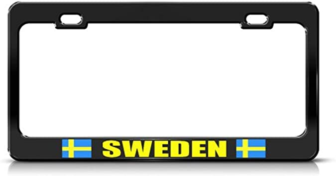 Amazon Com Chawuux Metal License Plate Frame Sverige Sweden Country Car Accessories Black 2 Holes Automotive