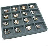 5 Gray 16 Slot 1/2 Size Jewelry Display Tray Inserts New by FindingKing