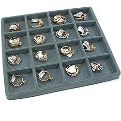 5 Gray 16 Slot 1/2 Size Jewelry Display Tray Inserts New