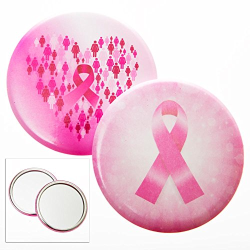 (Reflections of Hope Pink Ribbon Button Mirror)