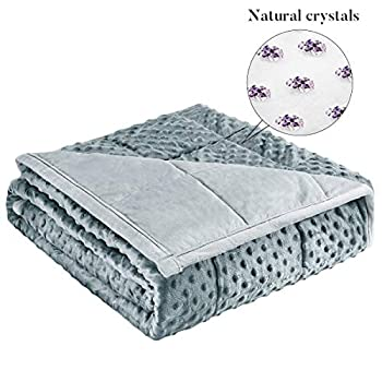 Image of Reeple Adult Weighted Blanket 15 lbs(48'x 72',Twin Size,Crystal&Glass Beads) Heavy Blanket for Individual Between 90-150 lbs,Fits Full or Queen Size Bed Grey Reeple B07YKB9C6Q Weighted Blankets