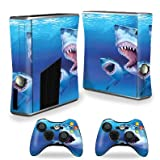 MightySkins Skin For Xbox 360 S Slim + 2 controllers – Great Whites Protective, Durable, and Unique Vinyl Decal wrap cover | Easy To Apply, Remove, and Change Styles | Made in the USA For Sale
