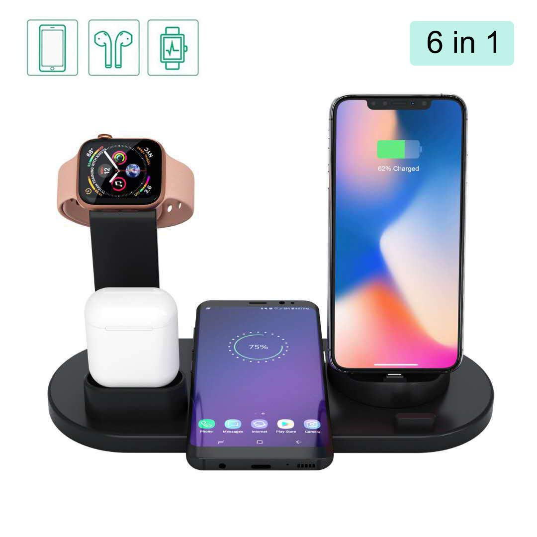 6 in 1 Charger Stand Copatible with iPhone/Android/Type-C with USB Port for Apple Watch,Qi Fast Wireless Charging Dock Station for AirPods/iPhone/Samsung/Huawei/LG/HTC/Sony(Black)