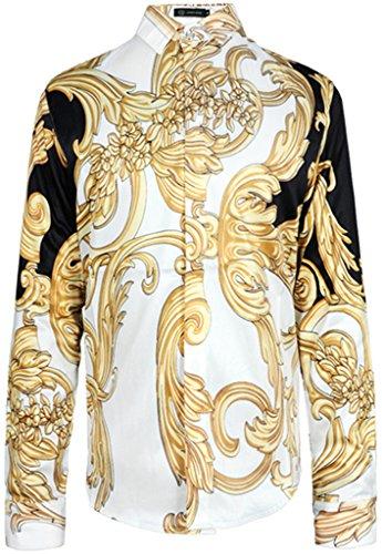 PIZOFF Mens Long Sleeve Luxury Golden Contrast Flowers Floral Print Dress Shirt Y1706-20-XXL