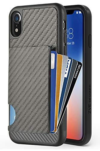 ZVEdeng iPhone XR Wallet Case, iPhone XR Case with Card Holder, Protective Credit Card Case with Carbon Fiber Card Clip Pocket Shockproof Slim Card Grip Case Cover for Apple iPhone XR 6.1 Black