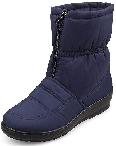 af91284e18060a Femme Bottes de Neige Imperméable Hiver Fausse Fourrure antidérapant Chaud  extérieur Cheville Bottes Chaussure