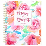 2019-2020 Planner - Academic Weekly & Monthly Planner, Thick Paper with Colorful Tabs - 9.3' x 8.25', Twin-Wire Binding with 19 Notes Pages + Two-Sided Inner Pocket + Gift Box, Pink Floral