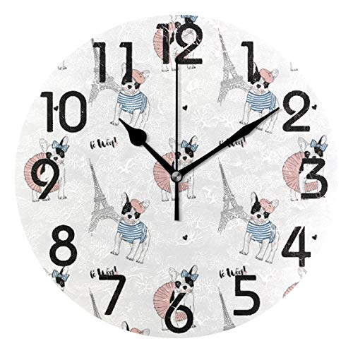 Naanle Cute French Bulldog Eiffel Tower Pattern Fresh Round Wall Clock Decorative, 9.5 Inch Battery Operated Quartz Analog Quiet Desk Clock for Home,Office,School ()