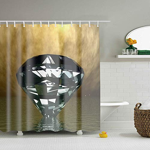 3D Diamond Sea Wide Mildew Resistant Fabric Shower Curtain 71 × 71 inch Non Toxic Eco-Friendly Water-Repellent Antibacterial
