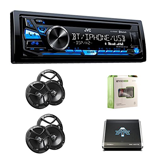 JVC KD-RD88BT Single DIN CD Receiver, Bluetooth, USB/Aux Input With CSJ620 JVC 6.5