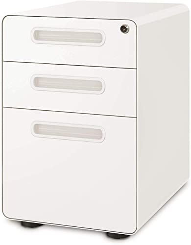 DEVAISE 3-Drawer Mobile File Cabinet with Anti-tilt Mechanism, Legal Letter Size, White