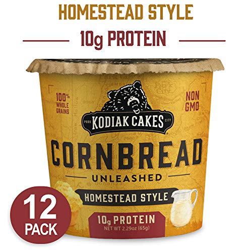 Kodiak Cakes Cornbread in a Cup, Homestead Style, 2.29 Ounce (Pack of 12) (Packaging May Vary) (Minute Corn)