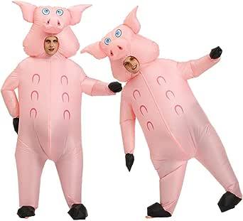 Amazon.com: Inflatable Jumpsuitanime Cosplay Adult Halloween Costumes for Women Men Pink Pig ...