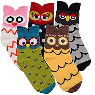 5 Pairs Women's Fun Socks Cute Owl Animals Funny Funky Novelty Cotton