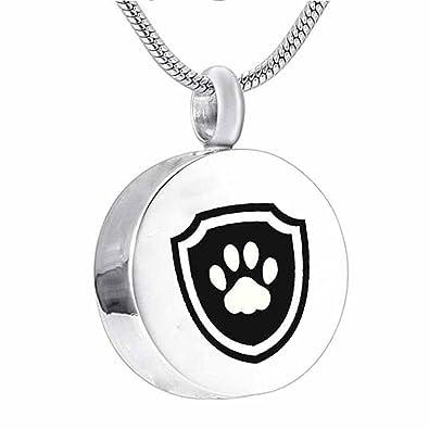 Dog Paw Round Cremation Jewelry Ashes Keepsake Memorial Pet Urn Necklace