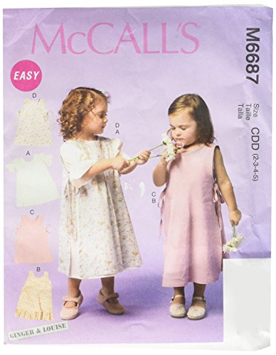 McCall Patterns M6687 Girls/Girls' Dresses and Pinafores Sewing Template, Size CDD (2-3-4-5) Pinafore Dress Pattern