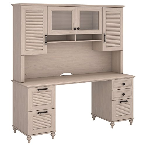 kathy ireland Home by Bush Furniture Volcano Dusk Double Pedestal Desk with Hutch in Driftwood Dreams