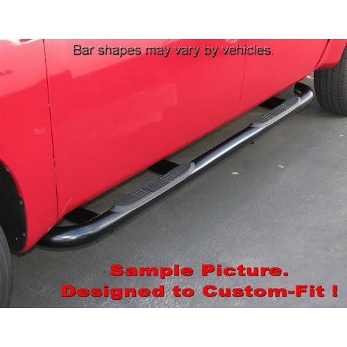 MaxMate Premium Custom Fit 02-05 Ford Explorer 4Dr Black 3 Side Step Rails Nerf Bars Running Boards 2pcs with Mounting Bracket Kit