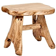 WELLAND Natural Wood Indoor/Outdoor Stool Cedar Garden Bench