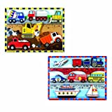 Melissa & Doug Wooden Chunky Puzzles Set - Vehicles and Construction