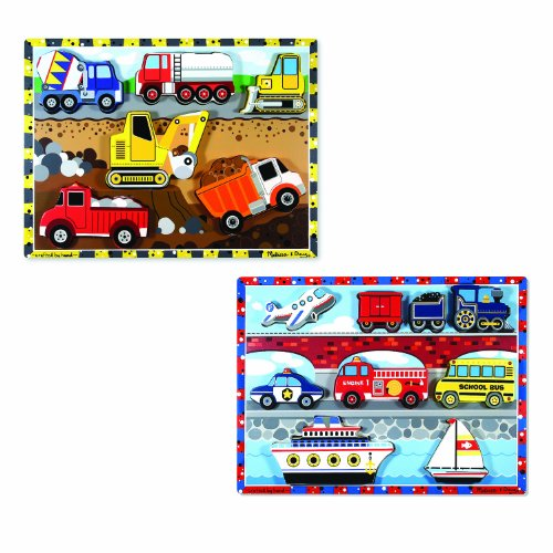 Puzzle Chunky Vehicles (Melissa & Doug Wooden Chunky Puzzles Set - Vehicles and Construction)