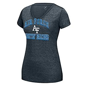 NCAA Air Force Falcons Women's Distressed School Arch Heathered Grand Slam Tee, Small, Charcoal HTR