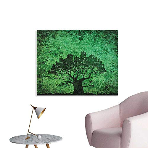 Anzhutwelve Abstract Photographic Wallpaper City Composition Buildings Houses Town on Tree Branches Creative Monochromic Artwork Custom Poster Green W36 -
