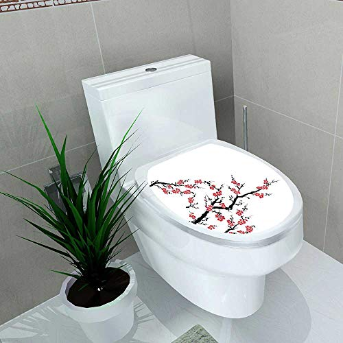 Auraise-home Waterproof self-Adhesive Japanese Simplistic Cherry Blossom Tree AsianBotanic Themed Fresh Organic Lines Work Red Black Toilet Seat Vinyl Art Stickers W8 x L11