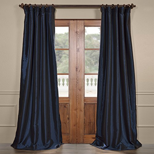 (Half Price Drapes PTCH-BO194010-108 Blackout Faux Silk Taffeta Curtain, Navy)