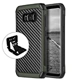 Samsung Galaxy S8 Case Tough Hybrid Case [Black TPU] + [Army Green] Hard Cover W/ Carbon Fiber Design with Travel Wallet Phone Stand