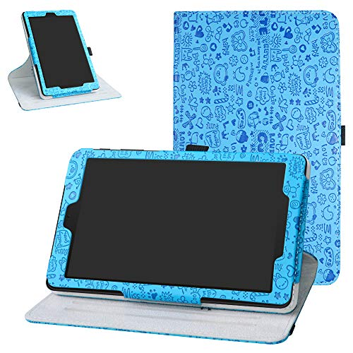 Alcatel 3T 8 Inch Tablet Rotating Case,Bige 360 Degree Rotary Stand with Cute Pattern Cover for T-Mobile Alcatel 3T 8 Inch Tablet(2018),Blue