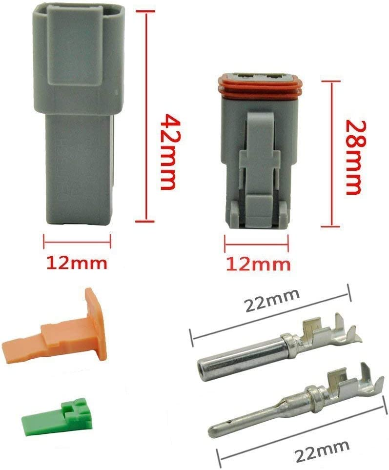 5 Kit 2 Pin Way DT Series Conector Impermeable 14-20 AWG 13 Amps Continuo DT04-2P DT04-2S