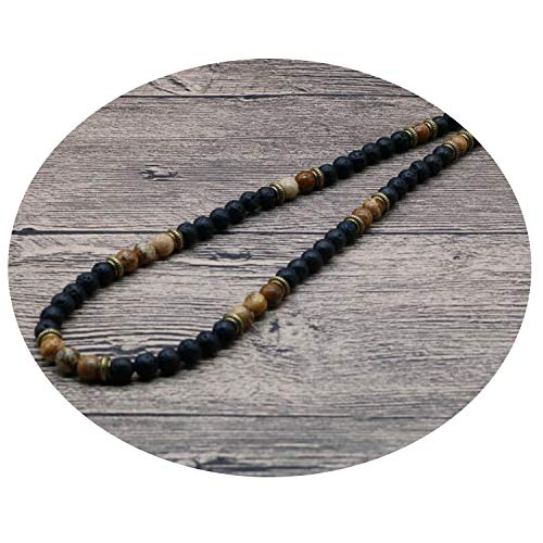Elibone 2019 Simple Natural Tiger Eye Stone Mens Bead Necklaces Surfer Unique Beaded Necklace for Men Gift for Him SU-15