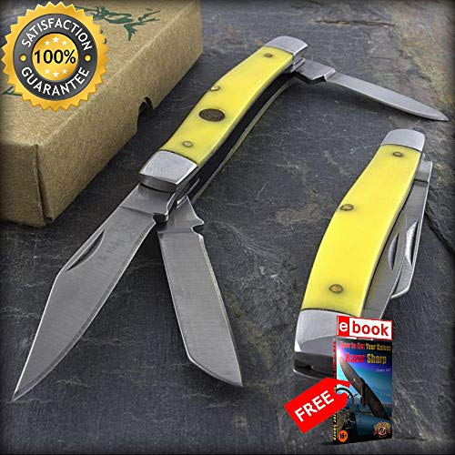 6.25'' ELK RIDGE STOCKMAN FOLDING POCKET KNIFE YELLOW HANDLE Gentleman Folder Combat Tactical Knife + eBOOK by Moon Knives (Medium Knife Handle Pocket Stockman)