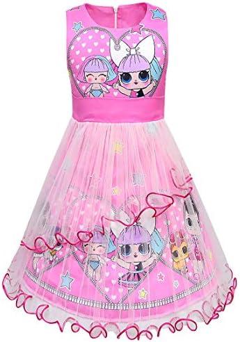 Festa di Compleanno Principessa Vestito Estivo L O L Surprise Vestito a Maniche Corte per Bambina Regalo per Bambina Gonna in Tulle Tutu Balletto Luccicante 3D 5 a 12 Anni