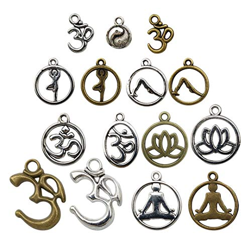 100g Yoga Charms - Mixed Antique Silver Bronze Sports Ohm Om Mala Yogi Chakra Indian Energy Love Sports Yoga Poses Slow Gossip Symbols Metal Pendants for Jewelry Making DIY Findings (HM22) ()