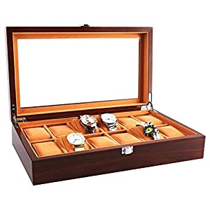 JINDILONG Watch Cases for Men 12 Slots Solid Wood Storage Organizer Display Box Large Holder Exquisite and Durable,Best Present for Birthday,Valentine's Day, Wedding, Christmas and New Year