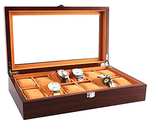 JINDILONG Watch Cases for Men 12 Slots Solid Wood Storage Organizer Display Box Large Holder Exquisite and Durable (Rosewood Watch Case)