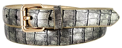 7075 Women's Skinny Alligator Embossed Leather Casual Dress Belt (Gold, Small)