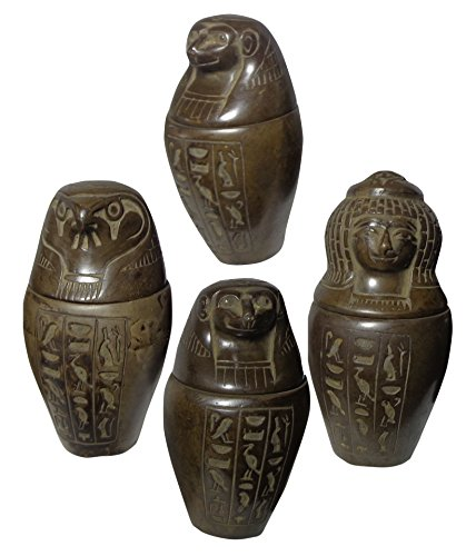 bonballoon Set of 4 Egyptian Ancient Canopic XL Jars Organs Storage Statue Statues Pharaoh Collection Collectable 3.8