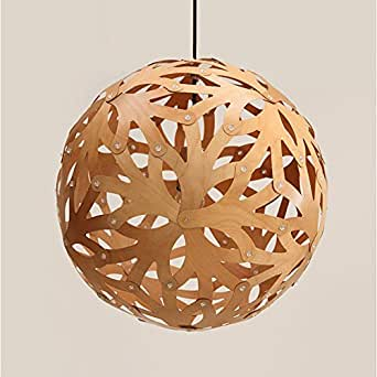 OAKLIGHTING Modern Globe Wooden Pendant Light Fixture Dining Room Hollow Ceiling Lighting D17.7""