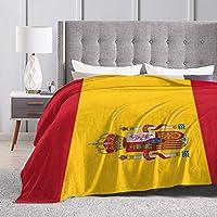 Manta de felpa Wearibear con diseño de la bandera de España de fácil cuidado, ultra cómoda, para sofá, manta de camping duradera, lujosa, manta portátil para la oficina, Blanco, 50